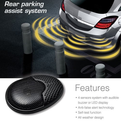 Steelmate Ebat C1 4 Sensors Parking Assist System Car Parking Sensor Reverse Radar Alert System with External Audible Buzzer Speaker