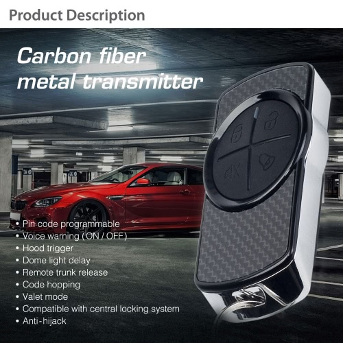 Steelmate 838N 1 Way Car Alarm System Match Central Locking System & Window Closer Anti-hijacking Remote Trunk Release with Carbon Fiber Transmitter