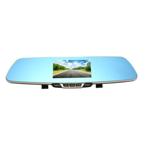 Anytek T6 1080P HD Blue Rearview Mirror Car Video Recorder DVR Dash Camcorder Tachograph Double Lens Dual Camera