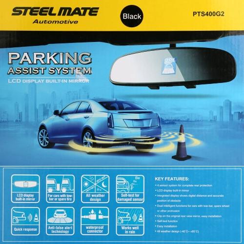 Steelmate PTS400G2 Parking Assist System 4 Sensors Car Parking Sensor Reverse Radar Alert System with Car LED Display