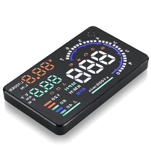 5.5 «большой экран авто Авто HUD голову дисплей км/ч & миль/ч скорости предупреждение системы проектов лобовое стекло с OBDII разъем интерфейса & играть