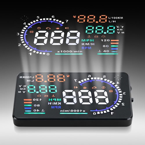 """5.5 """"Ekran Duży Ekran Samochodowy HUD Head Up Wyświetlacz KM / h i MPH Speeding Warning System Projektu Wiatrowego z interfejsem OBDII Plug & Play"""