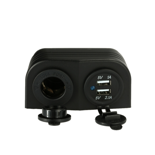 2 USB Socket + Cigarette Lighter Power Socket + Two Hole Tent Base for Car Truck Motorcycle Boat for ATV