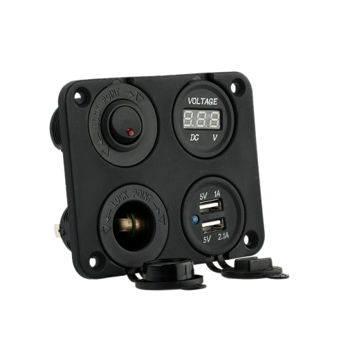 Four Hole Panel Base + Dual USB Socket + Voltmeter Meter + Power Socket + ON-OFF Button Switch for Car Truck Motorcycle Boat for ATV