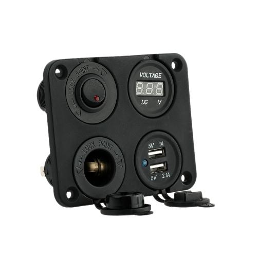 Quatro do furo painel Base + Dual USB soquete voltímetro medidor + tomada + botão ON-OFF interruptor para carro caminhão moto barco para ATV