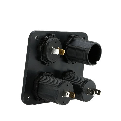 Four Hole Panel Base + Dual USB Socket + Voltmeter Meter + Power Socket + ON-OFF Button Switch for Car Truck Motorcycle Boat