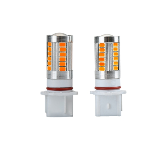 2 X 5630 33-SMD 850LM LED Car Fog Light Lamp Bulb P13W Socket Red Amber