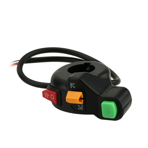Headlights/Turn Signal Lights/Horn ON-OFF switch 3 in 1 Universal 2.2cm Diameter Handlebar DIY Button Accessory for Motorcycle Scooter ATV