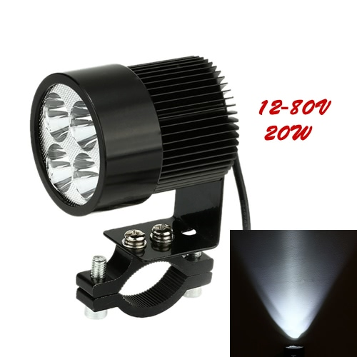 KKmoon 12V-80V 20W Black LED Headlight Lamp Universal for Motorcycle