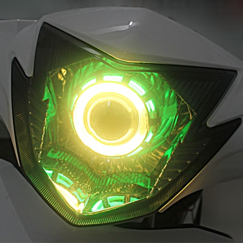 12V Hi/Lo Beam Led Projector Lens Headlight Kit with Angel Eyes & Devil eyes for Motorcycle