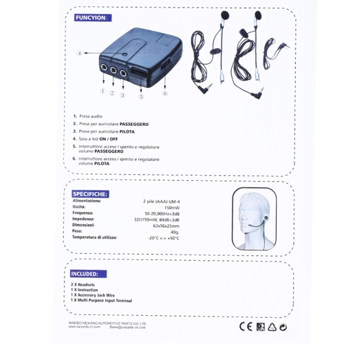 Image of Helmet to Helmet Communicator 2-Way Communication System Earphone+Mic