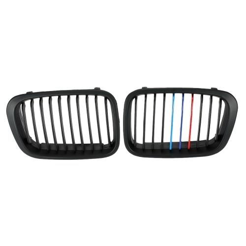 Секонд хенд одна пара матовая черная передняя решетка для почек М-стиль с красным, синим и темно-синим цветом для BMW E46 4 двери 98-01