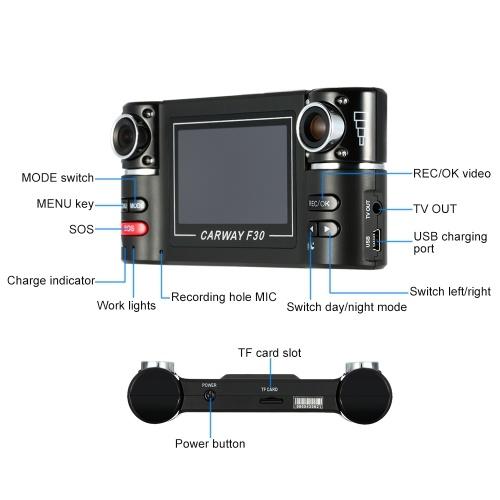 """Segunda Mão F30 Dual Lens Car Condutor Gravador 2.7 """"HD Carro DVR Traço Camcorder"""