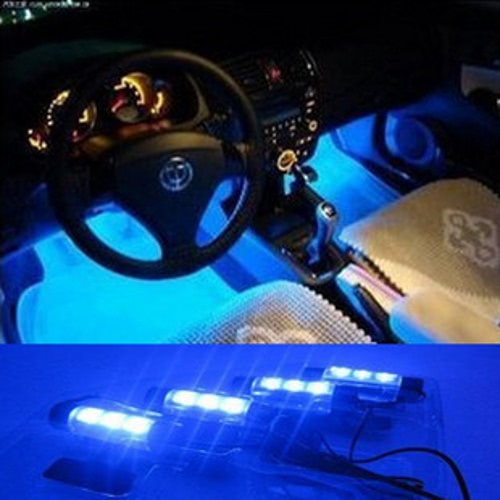 KKmoon 4*3 LED 12V Car Auto Interior Atmosphere Lights Decoration Lamp Blue