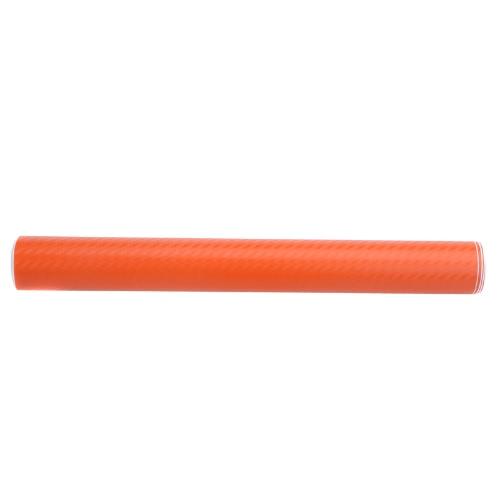 127 * 30CM en fibre de carbone 3D Film vinyle autocollant carrosserie / décoration d'intérieur Orange