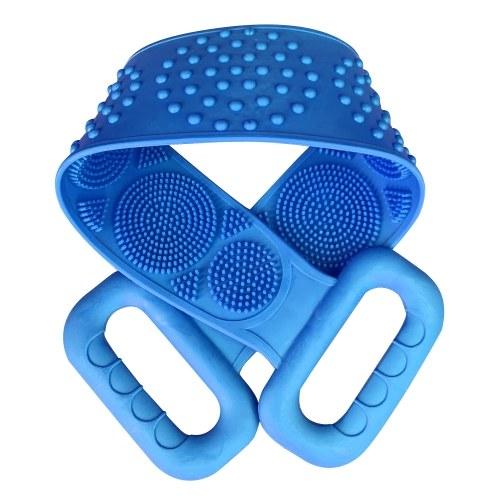 Esfregão dorsal de silicone, banho de chuveiro Escova de silicone para massagem corporal Toalha de banho de silicone Escova esfoliante corporal de cinto, cinta de banho de limpeza, esfregão de toalha de dupla face para homens, mulheres, 70 cm