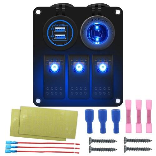 Panel de interruptores basculantes para barcos marinos a prueba de agua de 3 bandas con retroiluminación LED azul / rojo / verde Cargador USB doble de 4,8 V + base de fuente de alimentación para coche, SUV, marina, RV, camión, caravana