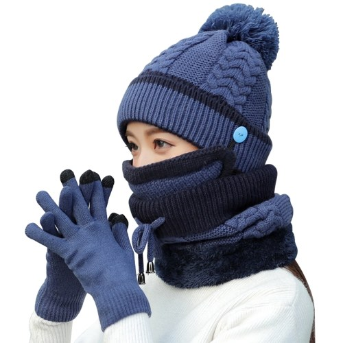 4Pcs Women Warm Thick Hat Scarf Winter Sets Cap Face Cover Gloves Collar Face Protection Girls Knitted Hat (Blue) thumbnail