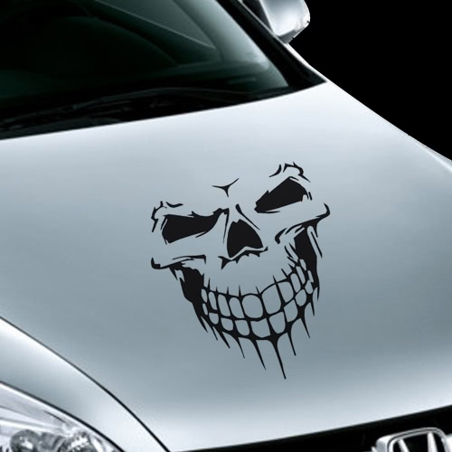 Novel Scary Cool Skull Skeleton Pattern Car Engine Cover Waterproof Car Sticker Outdoor Window Reflective Sheeting 3D Windshield Decal Rear Styling Auto Vehicle Exterior Decoration Cover Accessories