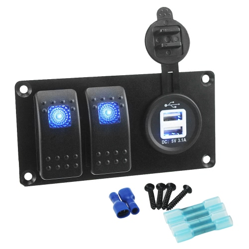 3 en 1 Marine Boat Car 3.1A Puerto USB doble 12V-24V Panel de alimentación de doble interruptor