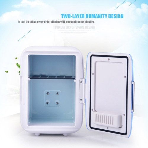 4L Mini Car Fridge Freezer Cooler Warm Use 12V Portable Icebox Travel Refrigerator for Camping Driving Blue