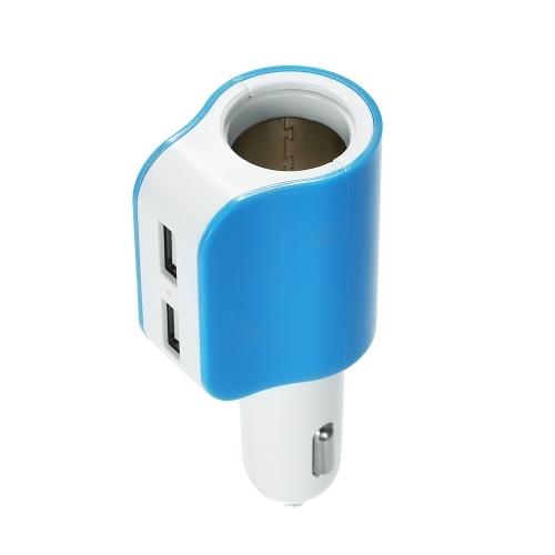 Quelima 5V 2.1A Dual USB 2.0 Interfaces Car Charger Adaptador de isqueiro azul