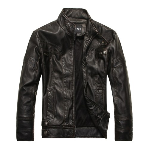 High-quality Fashion Leather Jacket Men PU Leather Stand Collar Motorcycle Jacket
