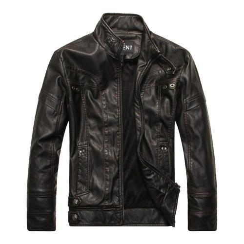 Hochwertige Mode Lederjacke Männer PU Leder Stehkragen Motorradjacke