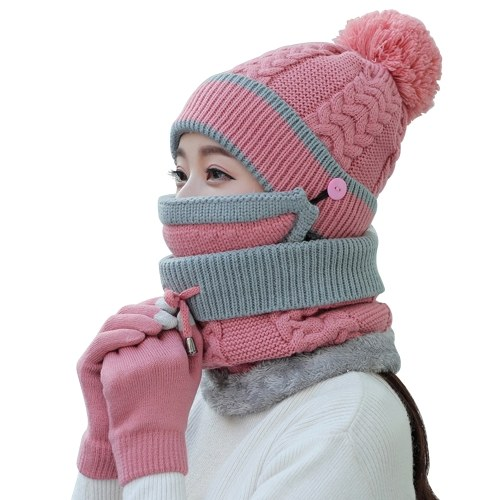 4Pcs Women Warm Thick Hat Scarf Winter Sets Cap Face Cover Gloves Collar Face Protection Girls Knitted Hat (Pink) thumbnail