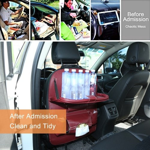 Car Backseat Organizer PU Leather Auto Back Seat Cushion for Kids Wine Red