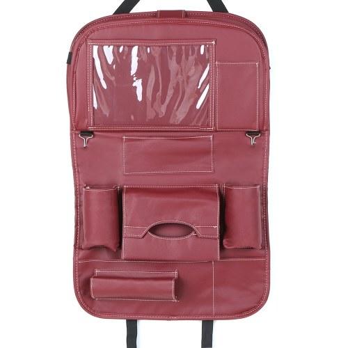 Coussin de siège arrière auto en cuir PU avec organisateur en cuir PU