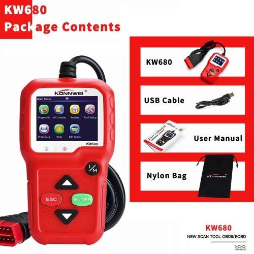 KONNWEI OBDIIは1996年以来の車のための診察道具車コード読者KW680エンジンライトスキャン用具OBD IIの走査器できます