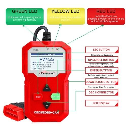 Сканер KONNWEI OBDII, считыватель кодов автомобилей KW590, диагностический диагностический инструмент CAN и полные функции OBDII EOBD, с улучшенным классом универсального автомобильного считывателя контрольных ламп для автомобилей, для всех автомобилей после 1996 года фото