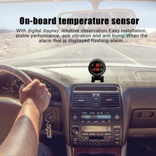 Круглый светодиодный цифровой автомобильный грузовик Датчик температуры воды Датчик температуры Temperatura Moto + вольтметр Вольтметр 2 в 1 12,0 В 24 В фото