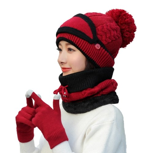 4Pcs Women Warm Thick Hat Scarf Winter Sets Cap Face Cover Gloves Collar Face Protection Girls Knitted Hat (Red) thumbnail