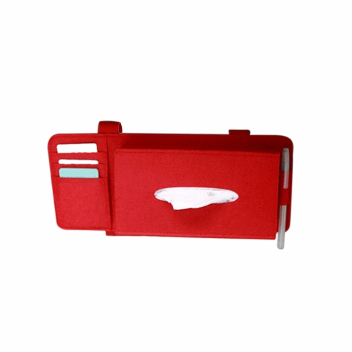 Fashion Car Sun Visor Type Wool Felt Hanging Tissue Box Pouch Card Storage