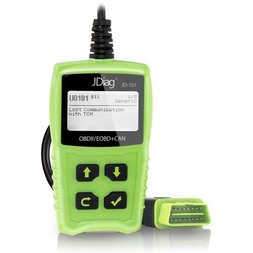 JDiag JD101 OBD OBDII Code Reader Автомобильный сканер Двигатель с ошибкой Диагностический инструмент сканирования Короткие коды неисправностей двигателя с функцией тестирования батареи