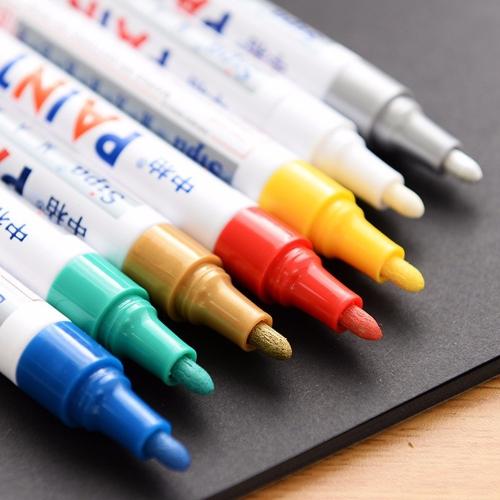 12 цветов Водонепроницаемая ручка автомобиля Шина Шины Протектора Резина Металлические Постоянные маркеры краски Граффити Масляная маркерная ручка фото