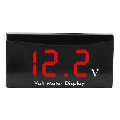 12 V Digital Led-anzeigetafel Meter Voltmeter Auto Motorrad Spannung Volt Manometer Panel Meter für Fahrzeug Automotive (weiß)