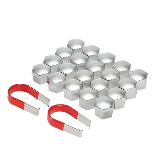 Universal 17mm Car Wheel Chrome Plastic Nut Cover Bolt Cap