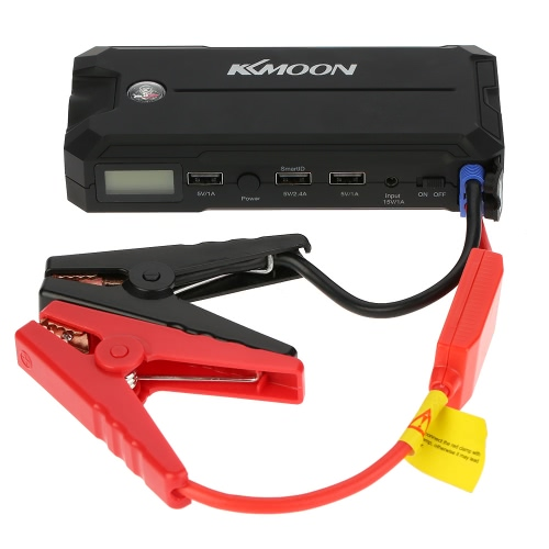 KKmoon 12000mAh Car Portable Jump Starter Power Bank avec écran LCD & Compass et lampe de poche LED 3 Port USB de recharge pour IOS Android Smartphone Tablet Laptop