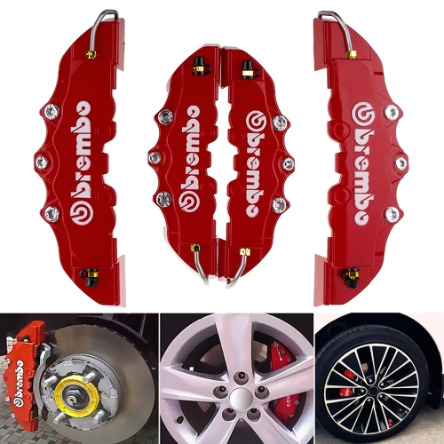 4PCS High Quality ABS Plastic Car Truck Brake Caliper Covers 3D Red Useful Car Universal Disc Brake Caliper Covers Size:2pcs of S and 2pcs of M