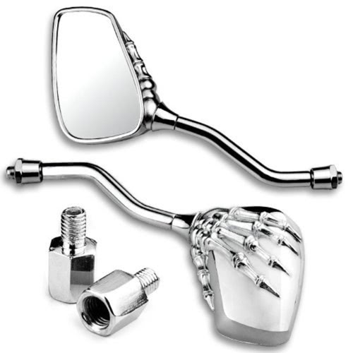 1 Pair Universal Motorcycle Aluminum Alloy Handlebar Skull Hand Pattern Ghost Claw Adjustable Rearview Side Glass Mirror Modified Accessories for Street Cars Scooters