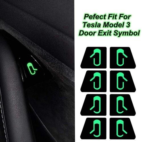Puerta de coche Abrir Etiqueta de salida Etiqueta Interior Decoración Botón abierto Recordatorio apropiado para Tesla Modelo 3