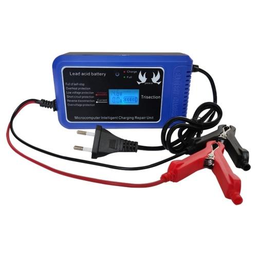 12V 10A Интеллектуальное зарядное устройство для ремонта плюсов со светодиодным дисплеем Автомобильное зарядное устройство для мотоциклов Зарядное устройство для свинцово-кислотных аккумуляторов фото