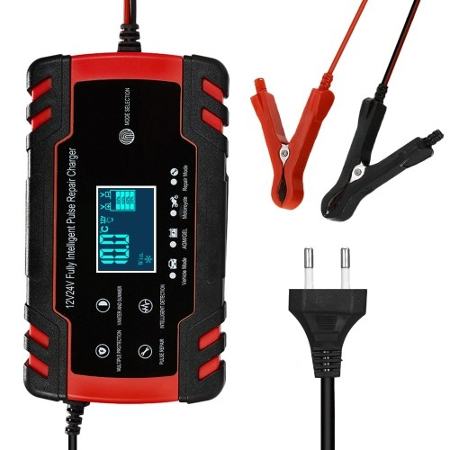 12V 24V Pulse Repairing Charger with LCD Display Motorcycle Car Battery Charger