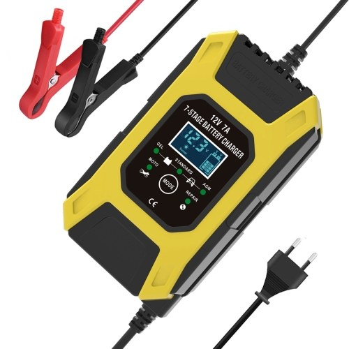 Car Battery Charger, 12V 7A Lead-acid Batteries Charger, LCD Display Smart Battery Maintainer 7-Stages Trickle Chargers for Car, Motorcycle, Lawn Mower, Marine Boat, SUV