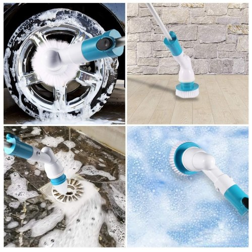 Electric Spin Scrubber Brush Floor Scrubber, Cordless Shower Scrubber with Adjustable Extension Handle and 3 Replaceable Cleaning Brush Head, Bathroom