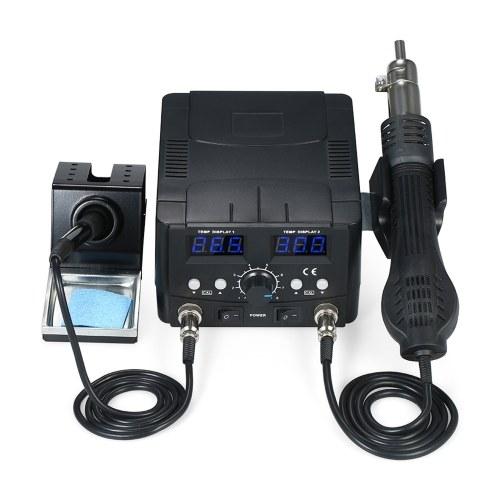 2 в 1 Цифровая паяльная станция для поверхностного монтажа, термофен, подставка для паяльника, набор инструментов для удаления припоя, 110 В