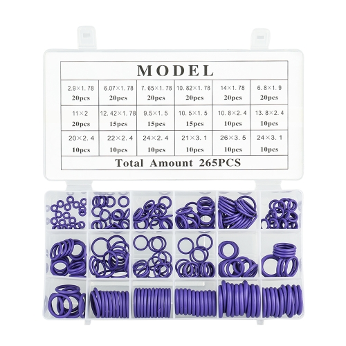 265PCS O-Type Repair Box Seal Car Air Conditioning Rubber Washer Assortment Set NBR O-Shape Seal Ring